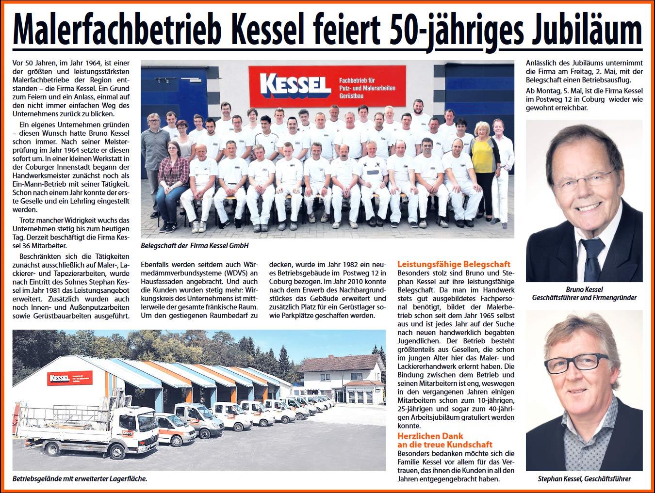 Firmenjubiläum 50 Jahre Malerfachbetrieb Kessel